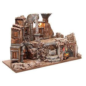 Ambiente romano illuminato fontana e banchetto 40x65x30 presepe 10 cm s3