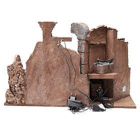 Ambiente romano illuminato fontana e banchetto 40x65x30 presepe 10 cm s4