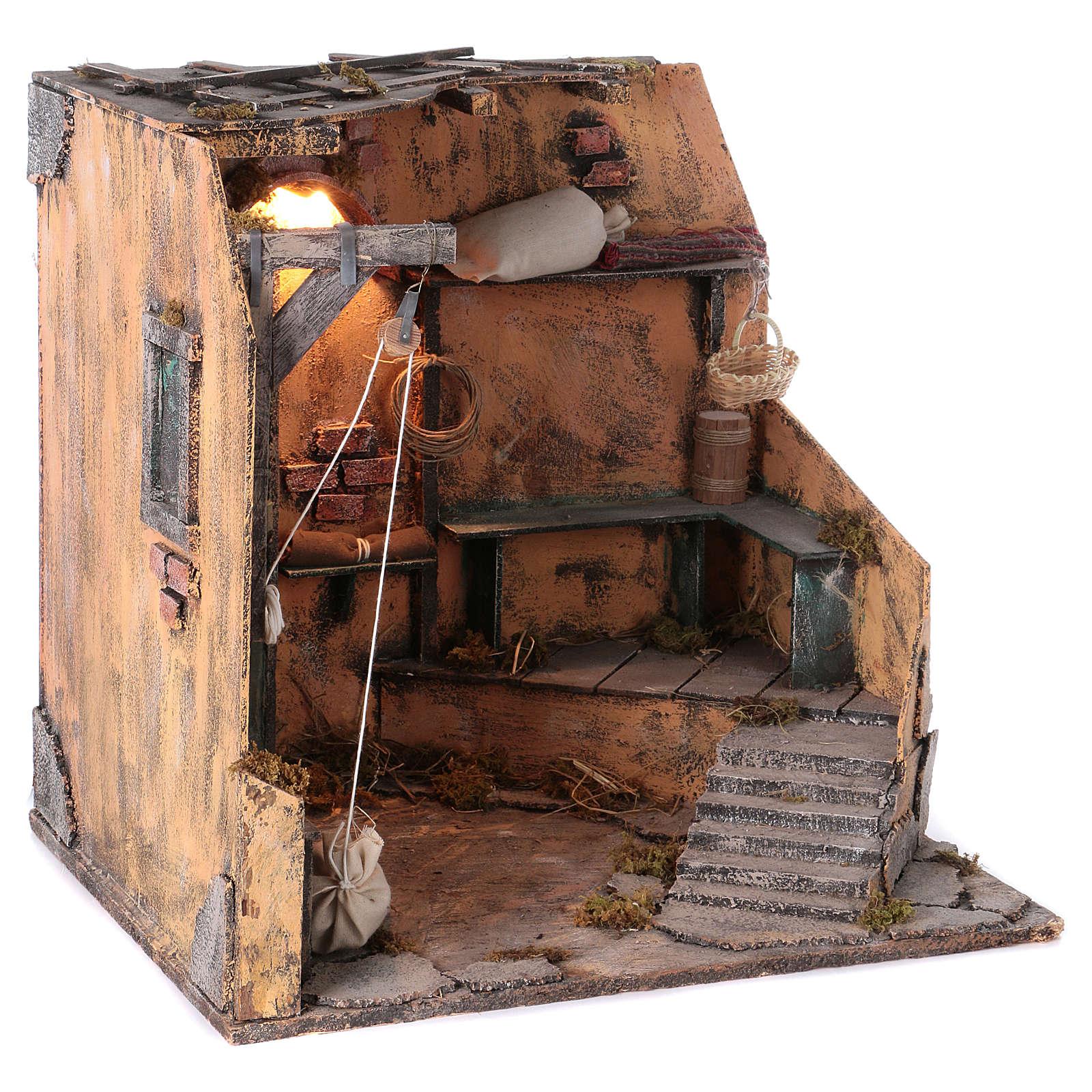 Illuminated cellar for Neapolitan Nativity measuring 40X40X40 cm 4
