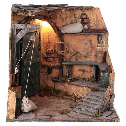 Illuminated cellar for Neapolitan Nativity measuring 40X40X40 cm 1