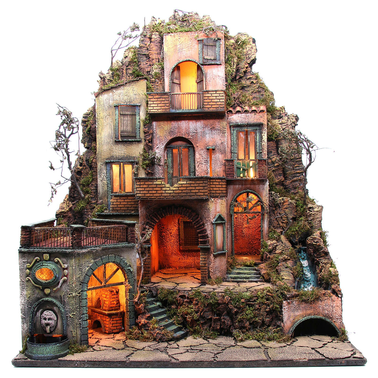 Borgo tre piani presepe napoletano 100x80x60 cm 4