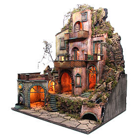 Borgo tre piani presepe napoletano 100x80x60 cm s2