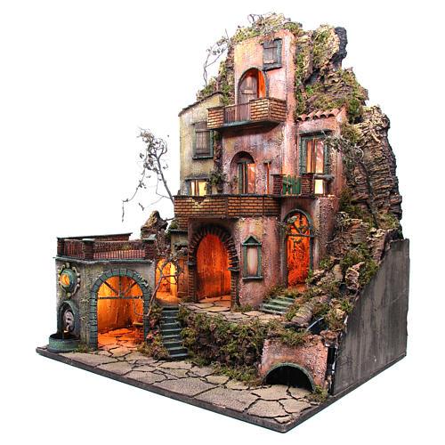 Borgo tre piani presepe napoletano 100x80x60 cm 2