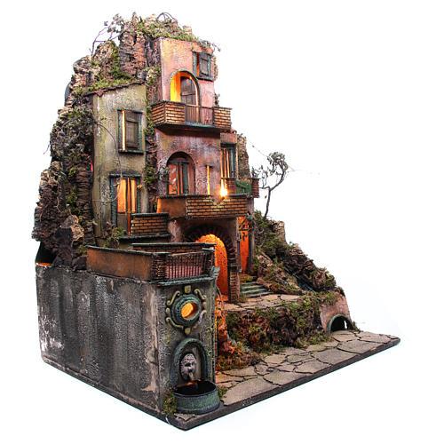 Borgo tre piani presepe napoletano 100x80x60 cm 3