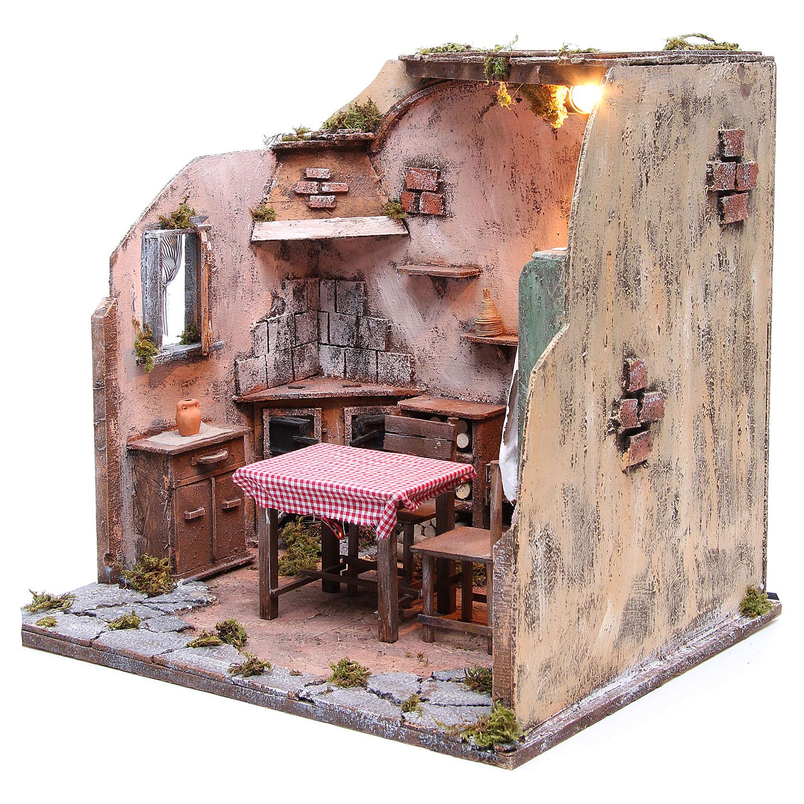 Maison meublée avec éclairage crèche napolitaine 42x65x38 cm 4
