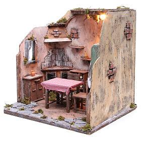 Maison meublée avec éclairage crèche napolitaine 42x65x38 cm s2
