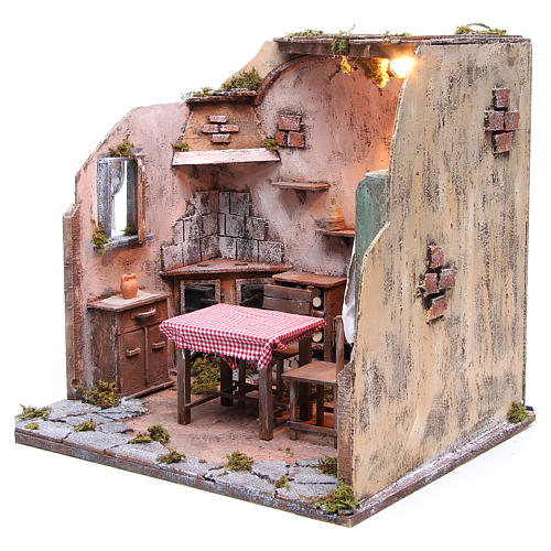 Maison meublée avec éclairage crèche napolitaine 42x65x38 cm 2