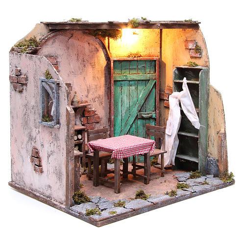 Maison meublée avec éclairage crèche napolitaine 42x65x38 cm 3