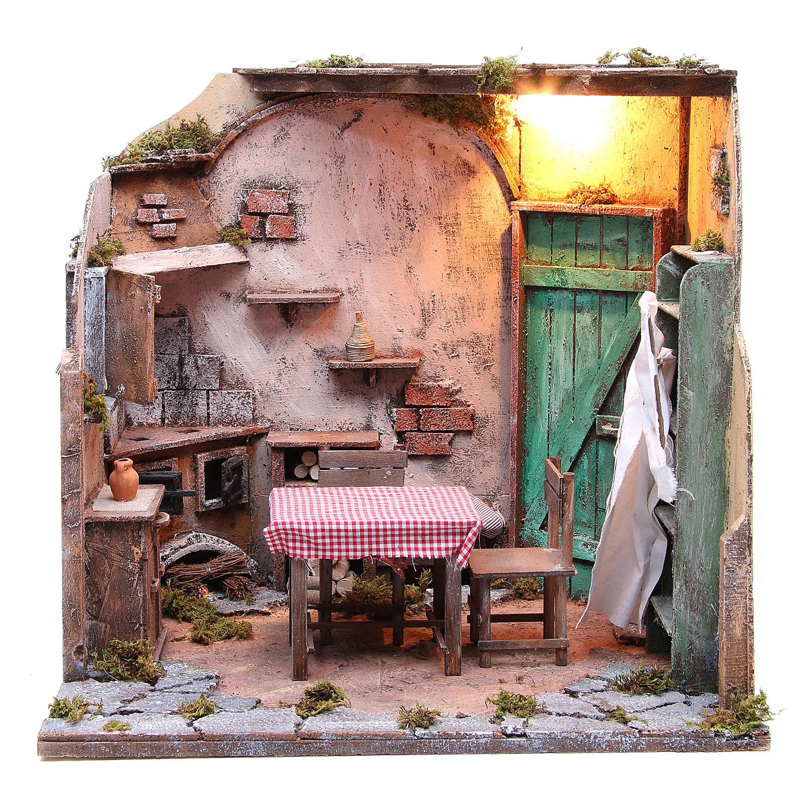 Casa arredata con luce presepe napoletano 42x65x38 cm 4