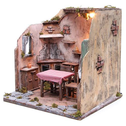 Casa arredata con luce presepe napoletano 42x65x38 cm 2