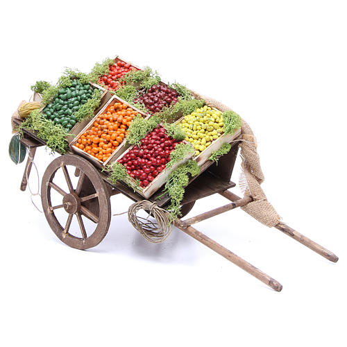 Cart with fruit for Neapolitan Nativity, 24cm 1
