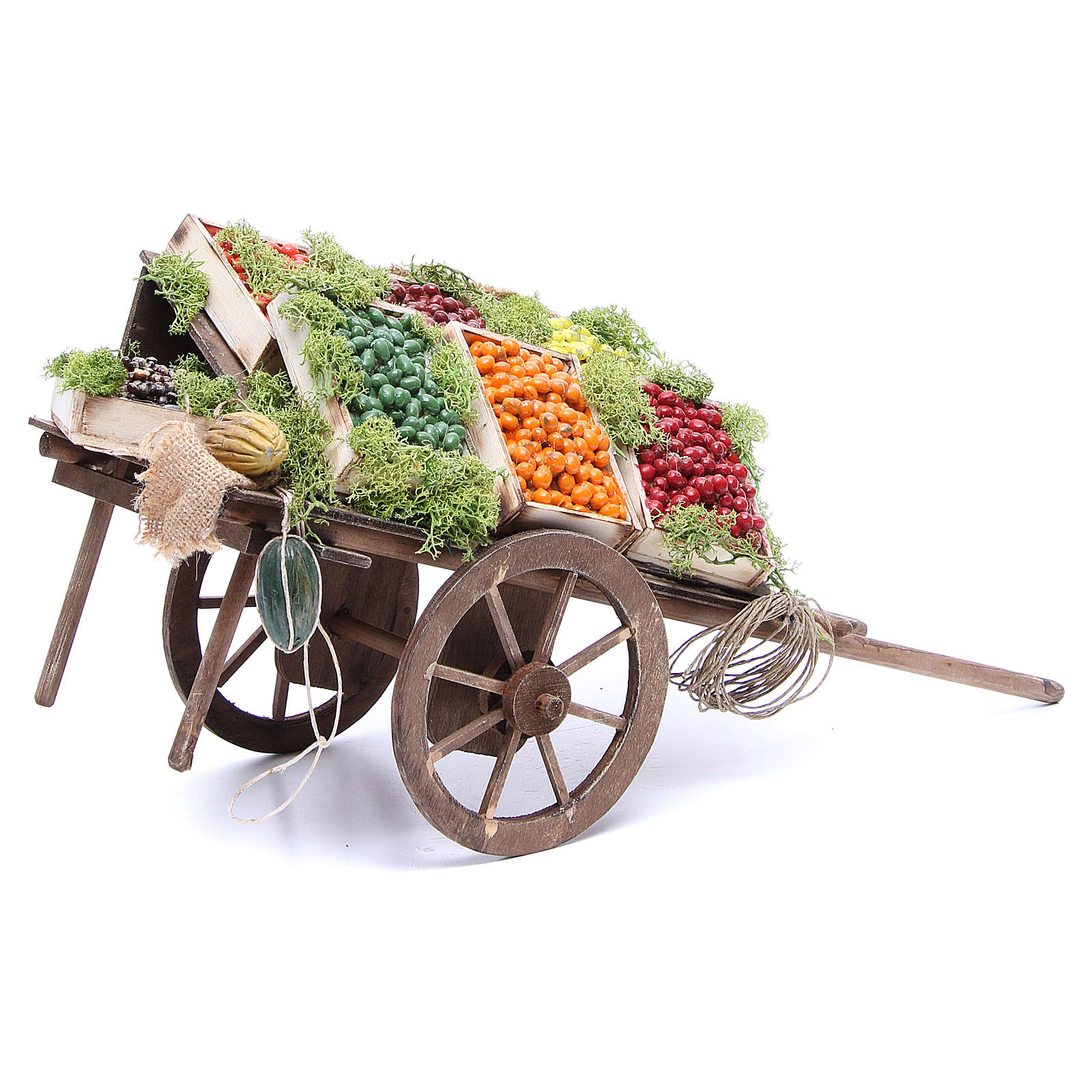Cart with fruit for Neapolitan Nativity, 24cm 4