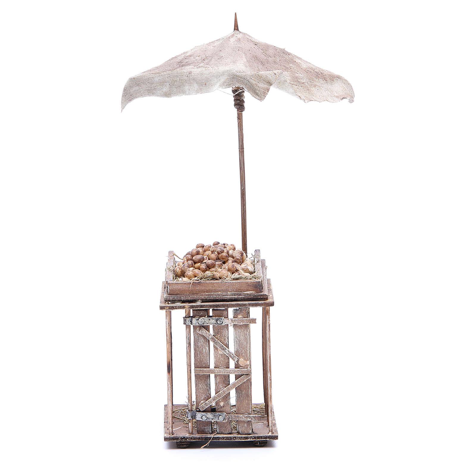 Egg stall with umbrella for Neapolitan Nativity, 24cm 4