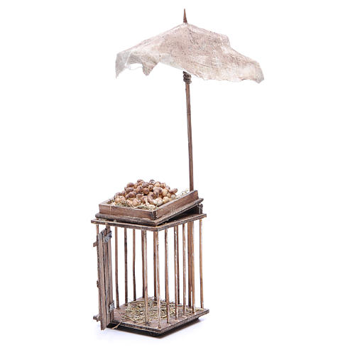 Egg stall with umbrella for Neapolitan Nativity, 24cm 2