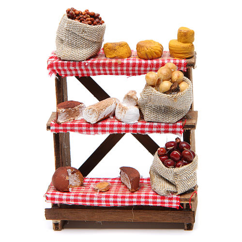 Nuts and olives stall for Neapolitan Nativity measuring 16x12x10cm 1