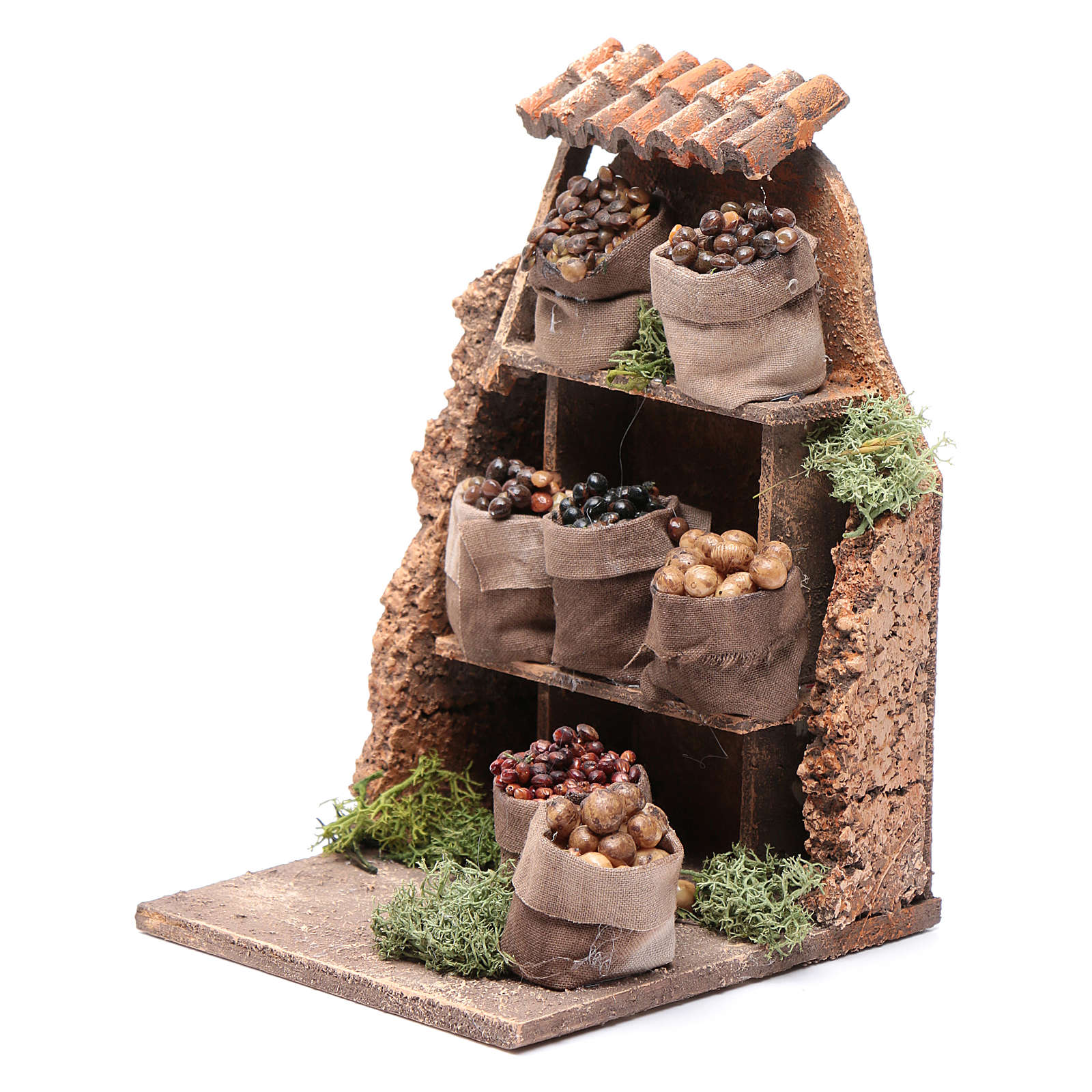 Nuts and olives stall for Neapolitan Nativity measuring 10x8x4cm 4