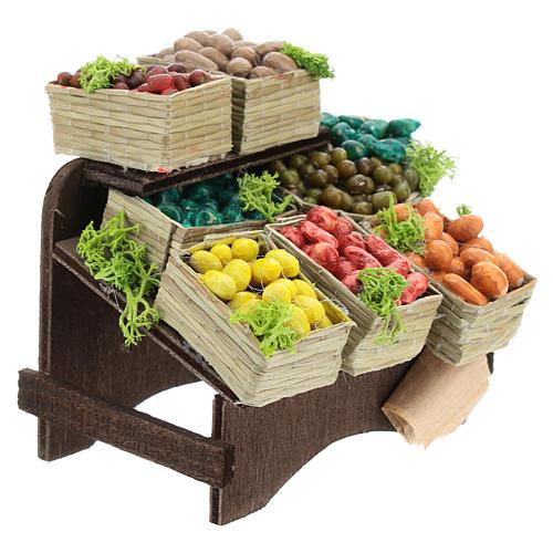 Mesa con cajas de fruta belén napolitano 3