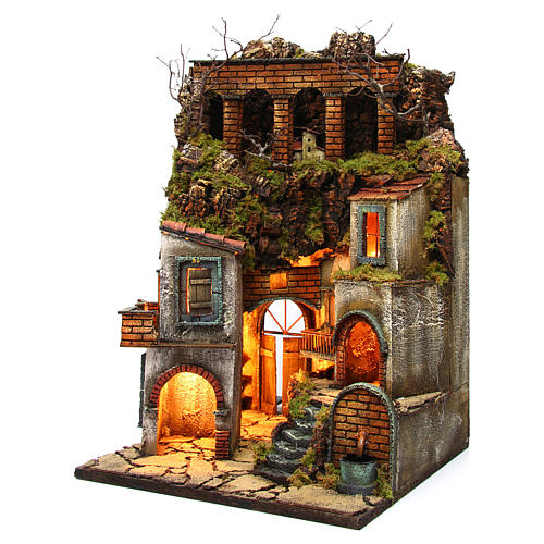 Village for Neapolitan Nativity with light and fountain measuring 60x40x40cm 2