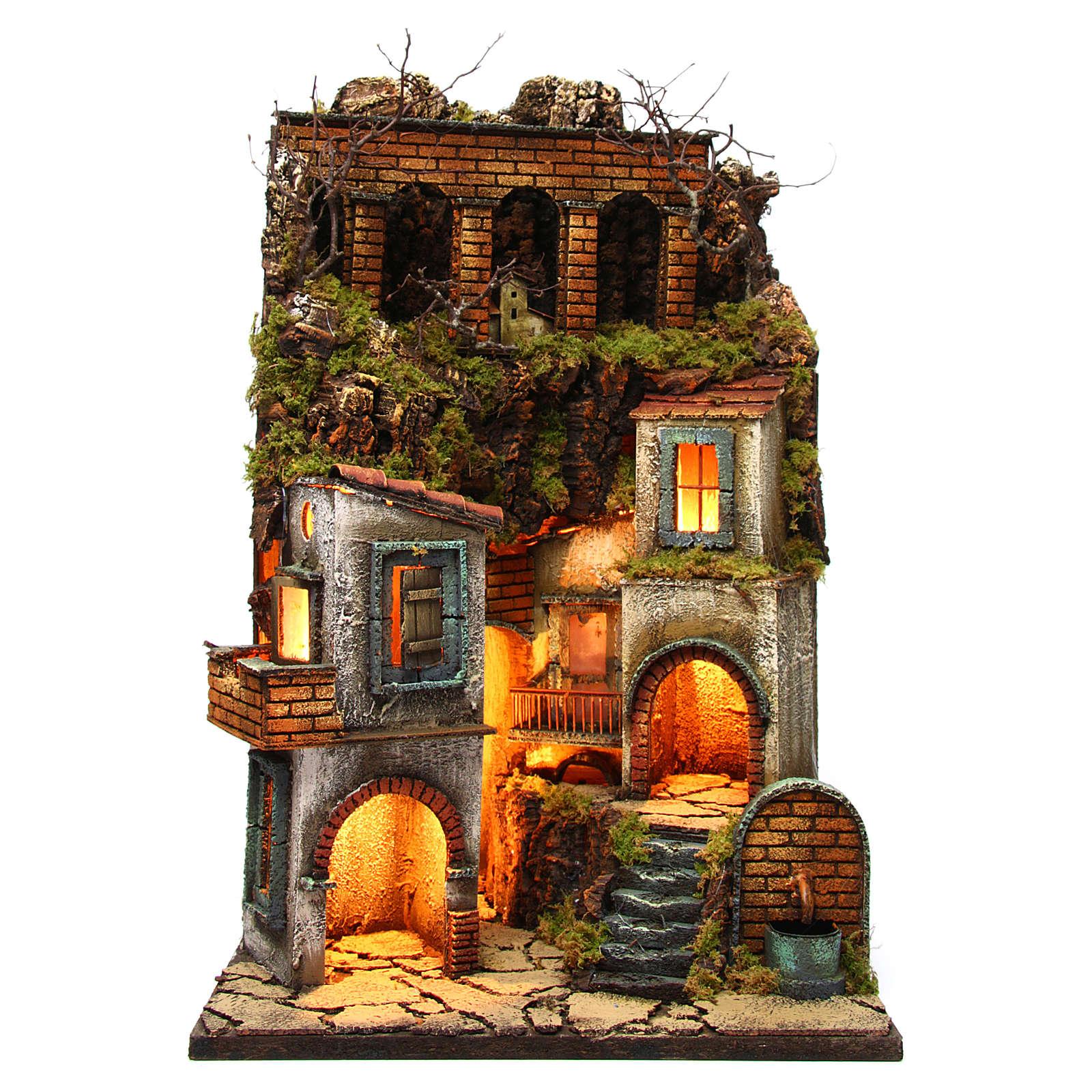 Borgo presepe napoletano con fontana e luce 60x40x40 4