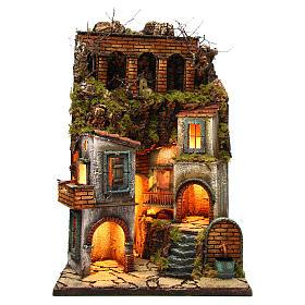 Presepe Napoletano: Borgo presepe napoletano con fontana e luce 60x40x40