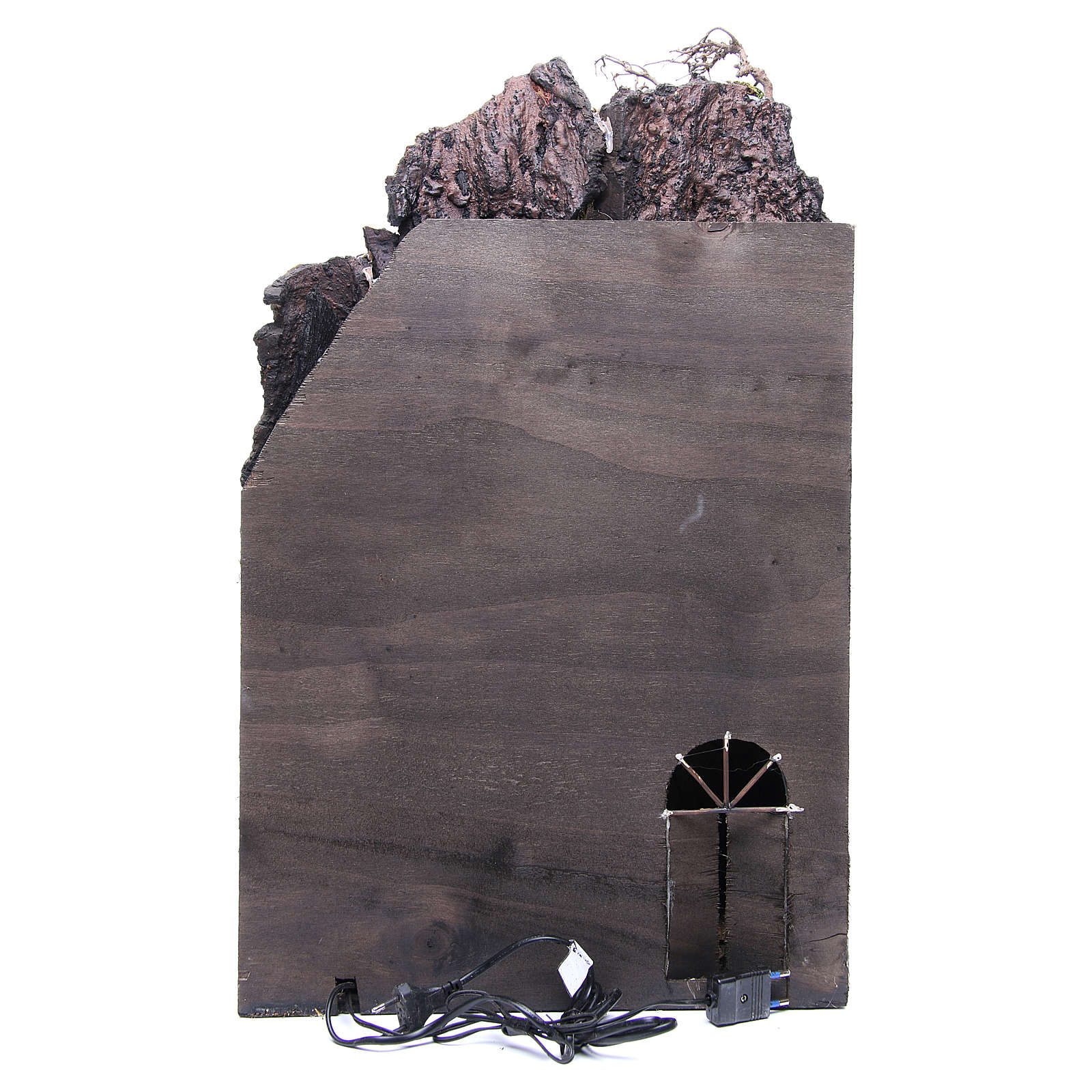 Village for Neapolitan Nativity with light and fountain measuring 60x40x40cm 4