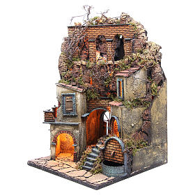 Village for Neapolitan Nativity with light and fountain measuring 60x40x40cm s2
