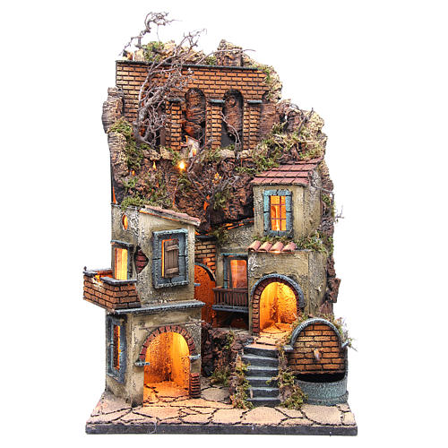 Village for Neapolitan Nativity with light and fountain measuring 60x40x40cm 1