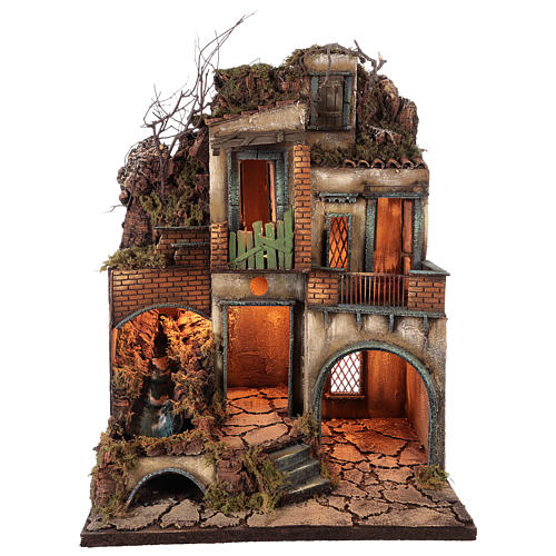 Village for Neapolitan Nativity with light and stream measuring 60x50x40cm 1