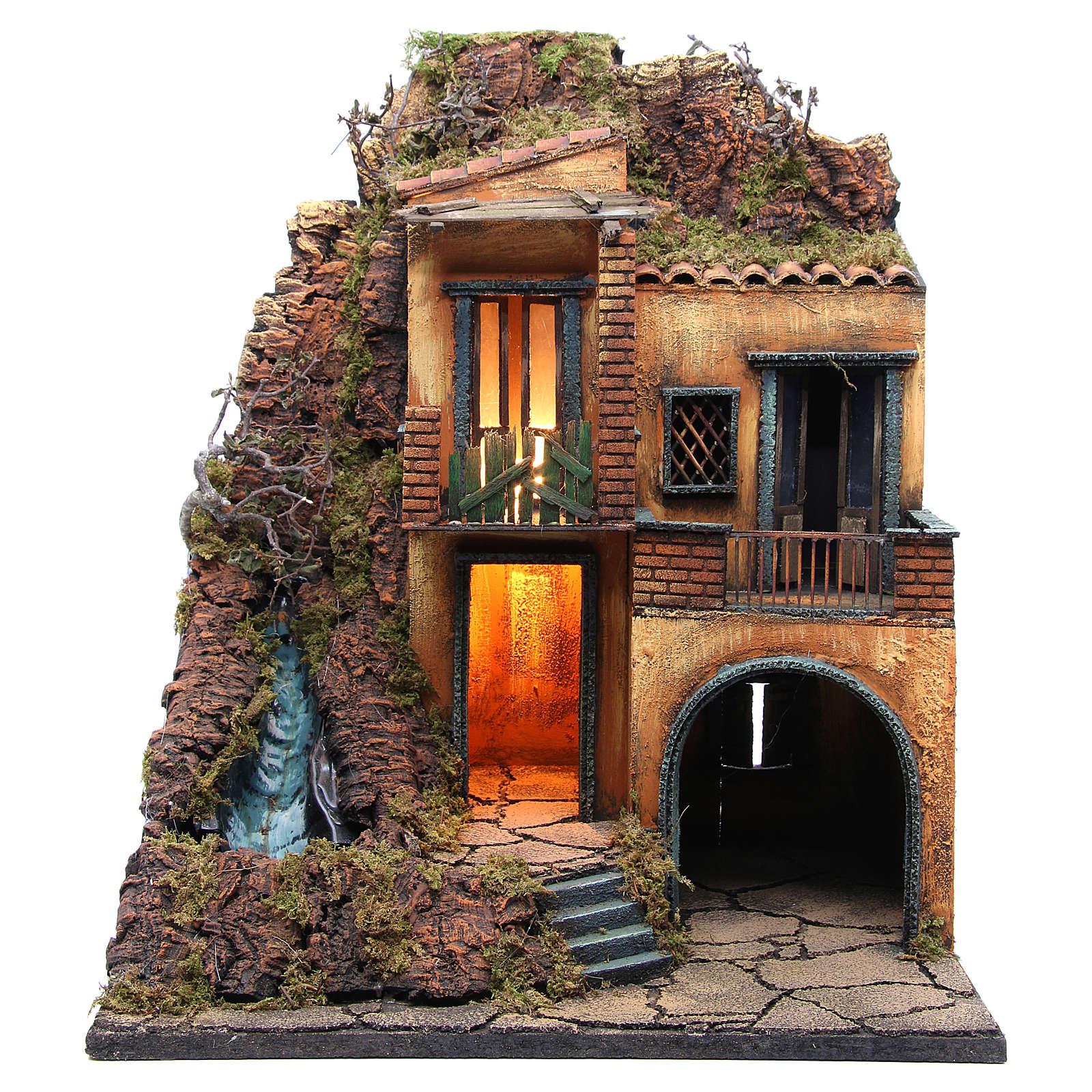 Borgo presepe Napoli con ruscello e luce 60x50x40 4