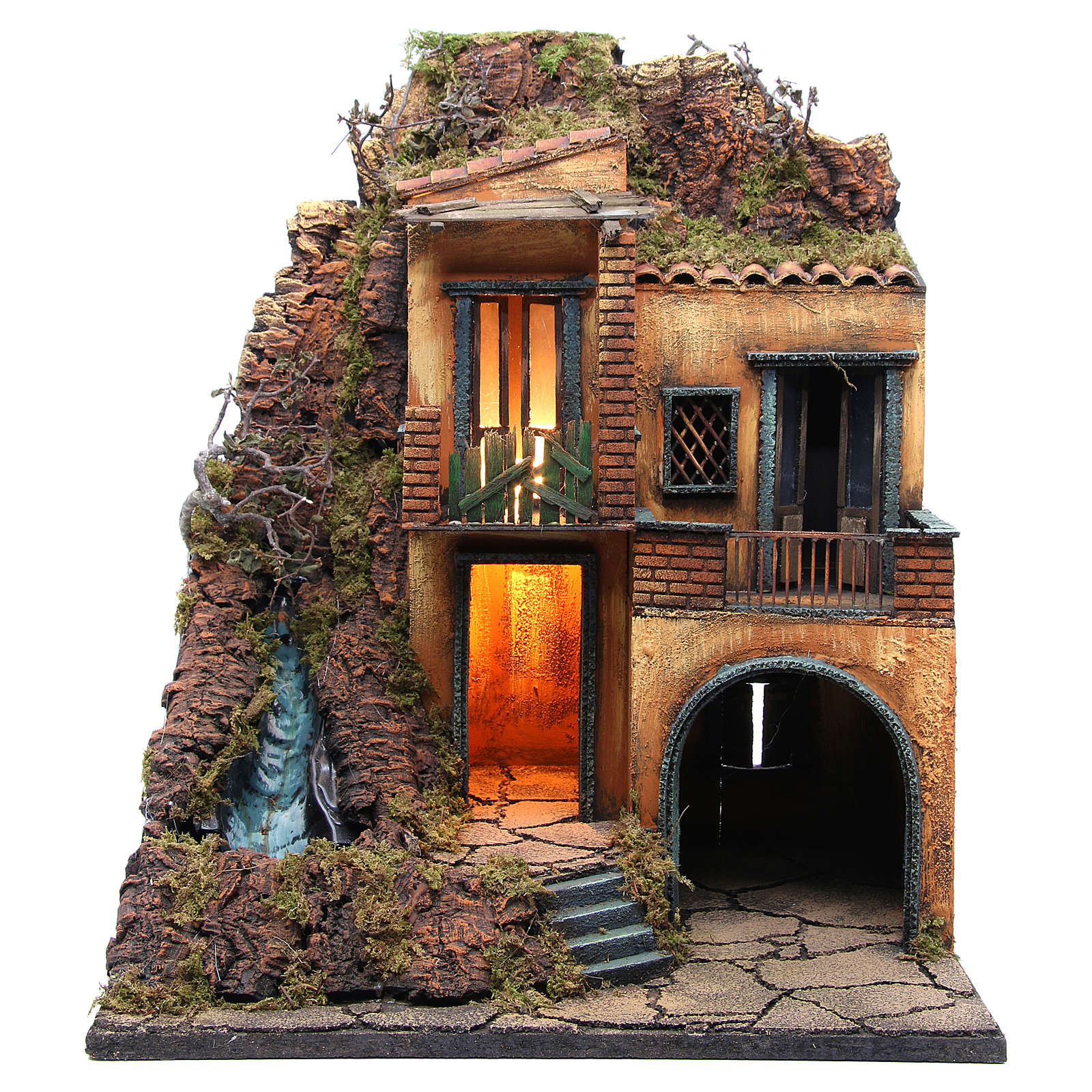 Village for Neapolitan Nativity with light and stream measuring 60x50x40cm 4