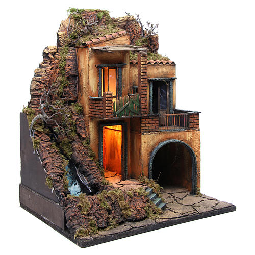 Village for Neapolitan Nativity with light and stream measuring 60x50x40cm 3