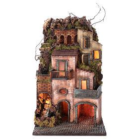 Presepe Napoletano: Borgo presepe Napoli 67x40x41 cm con ruscello
