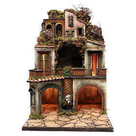 Village for Neapolitan Nativity, illuminated and with grotto 80x50x50cm s1