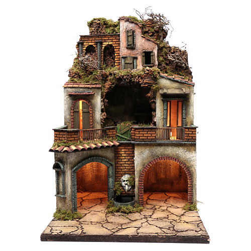 Borgo presepe napoletano 80x50x50 cm con grotta 1
