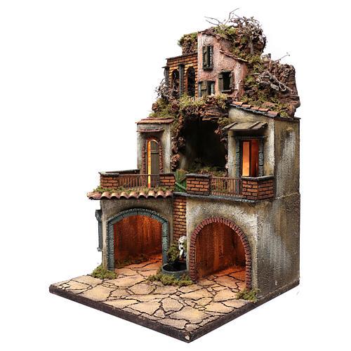 Borgo presepe napoletano 80x50x50 cm con grotta 2