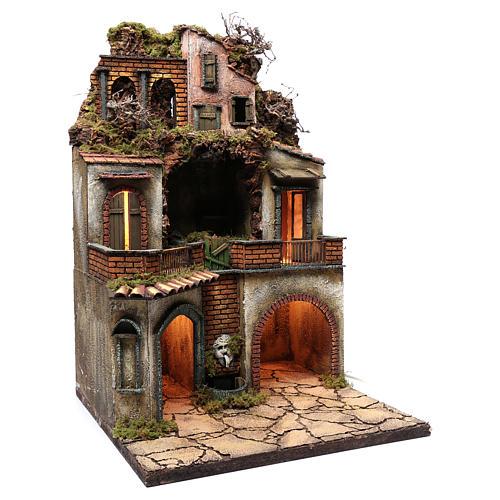 Borgo presepe napoletano 80x50x50 cm con grotta 3