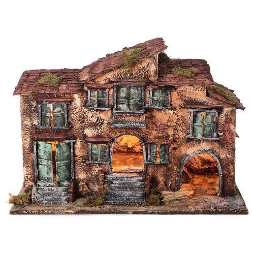 Country house with stable for Neapolitan Nativity with light measuring 48x71x36cm 1