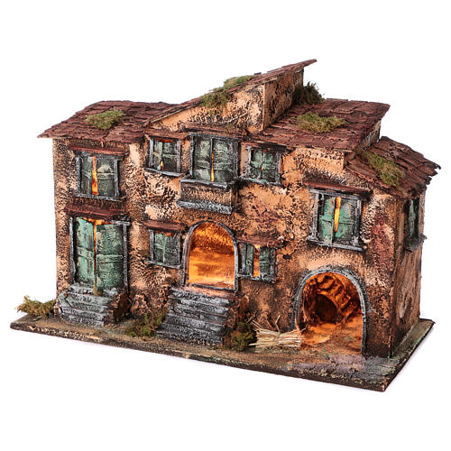 Country house with stable for Neapolitan Nativity with light measuring 48x71x36cm 2