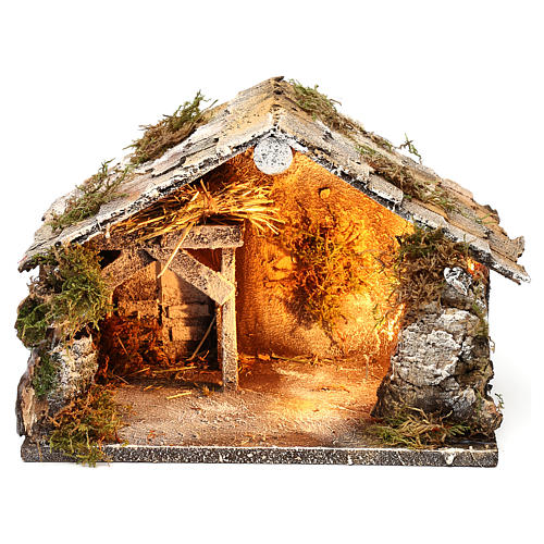 Stable with hay for Neapolitan Nativity measuring 33x21x21cm 1