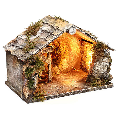 Stable with hay for Neapolitan Nativity measuring 33x21x21cm 3