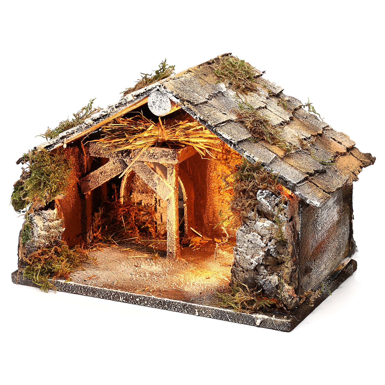 Stable with hay for Neapolitan Nativity measuring 33x21x21cm 4