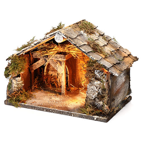 Stable with hay for Neapolitan Nativity measuring 33x21x21cm 2