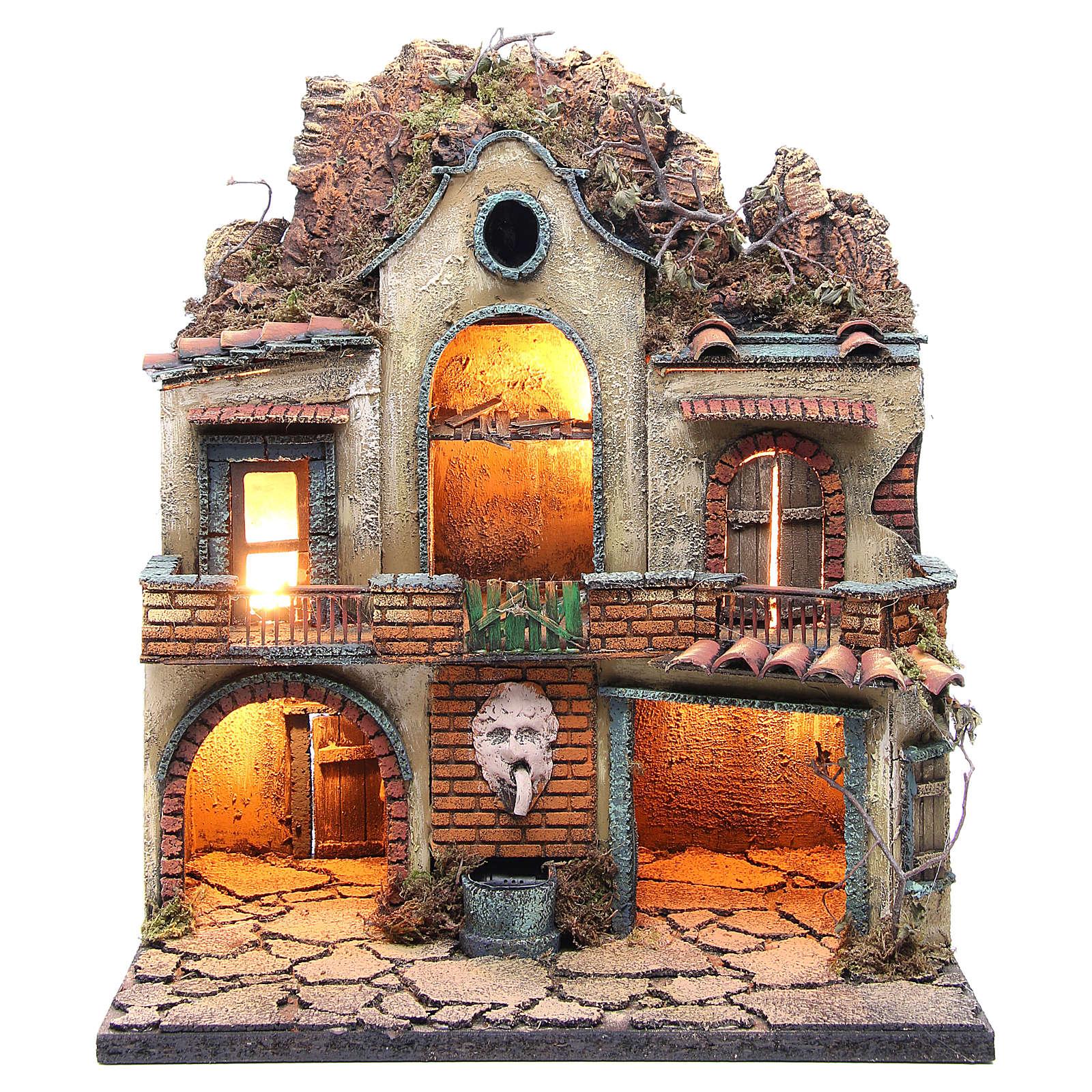 Pueblo iluminado con dos portales,  fuente y luz belén napolitano48x40x30 cm 4