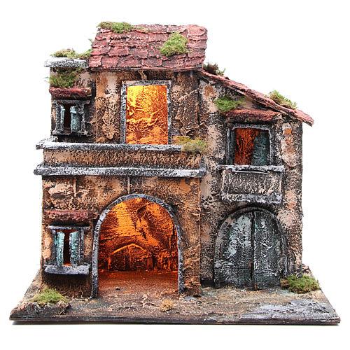Maison avec cabane 44x48x29 cm crèche Naples 1