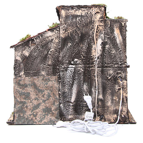 Casolare con capanna 44x48x29 cm presepe napoli 4
