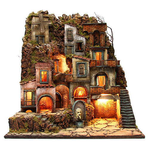 Illuminated village with mill, oven and fountain for Neapolitan Nativity 80x70x40cm 1