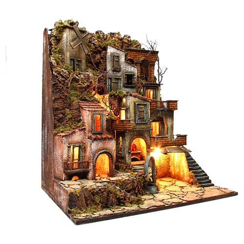 Illuminated village with mill, oven and fountain for Neapolitan Nativity 80x70x40cm 3