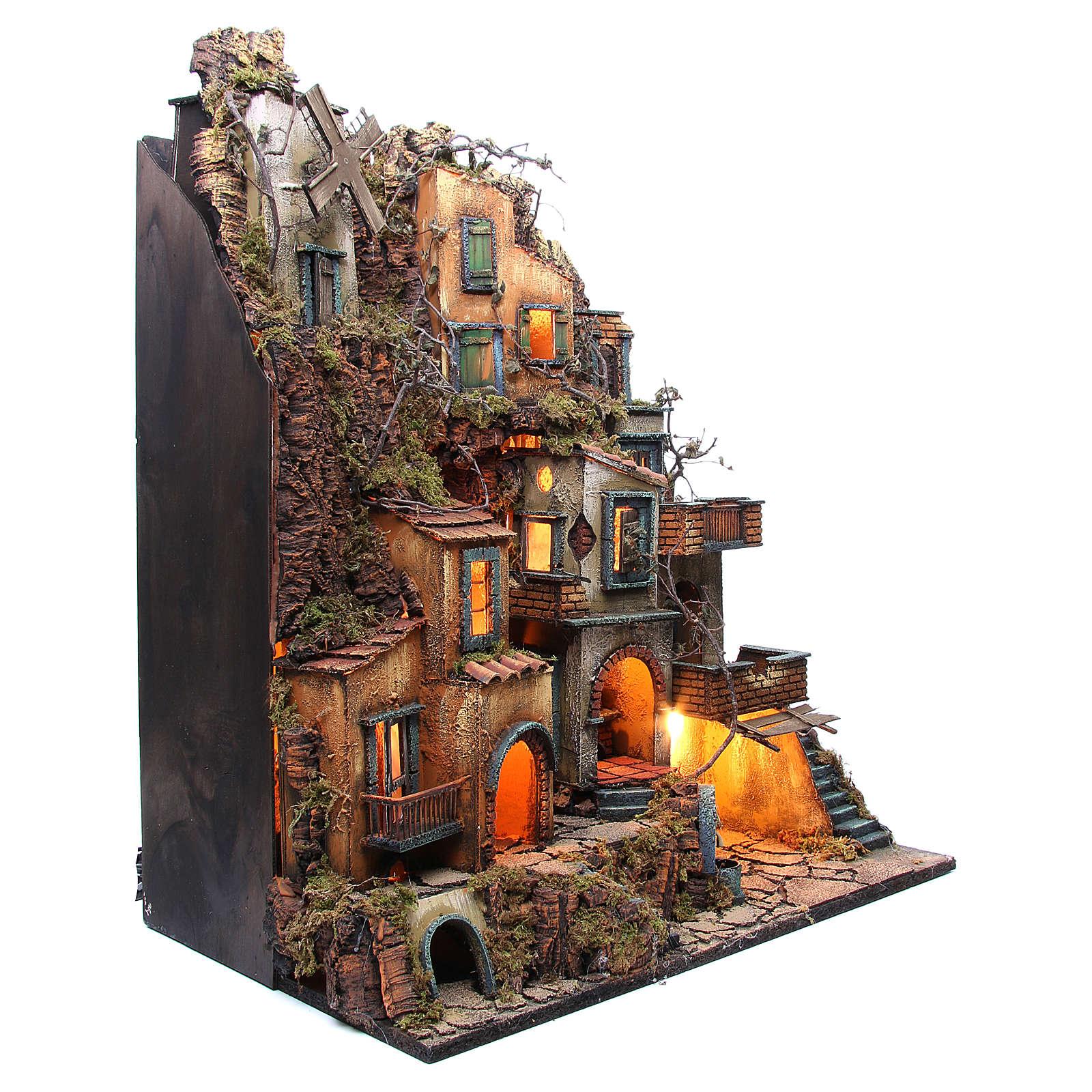 Borgo completo presepe Napoli fontana forno mulino 80x70x40 cm 4