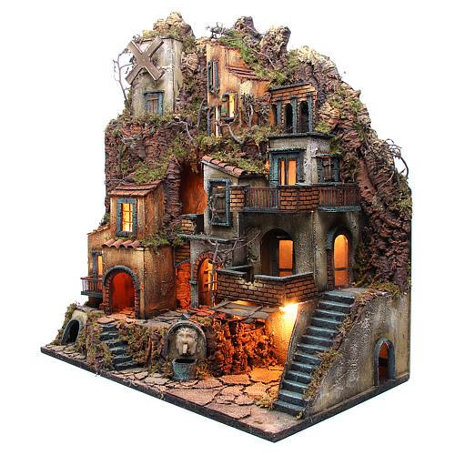 Borgo completo presepe Napoli fontana forno mulino 80x70x40 cm 2