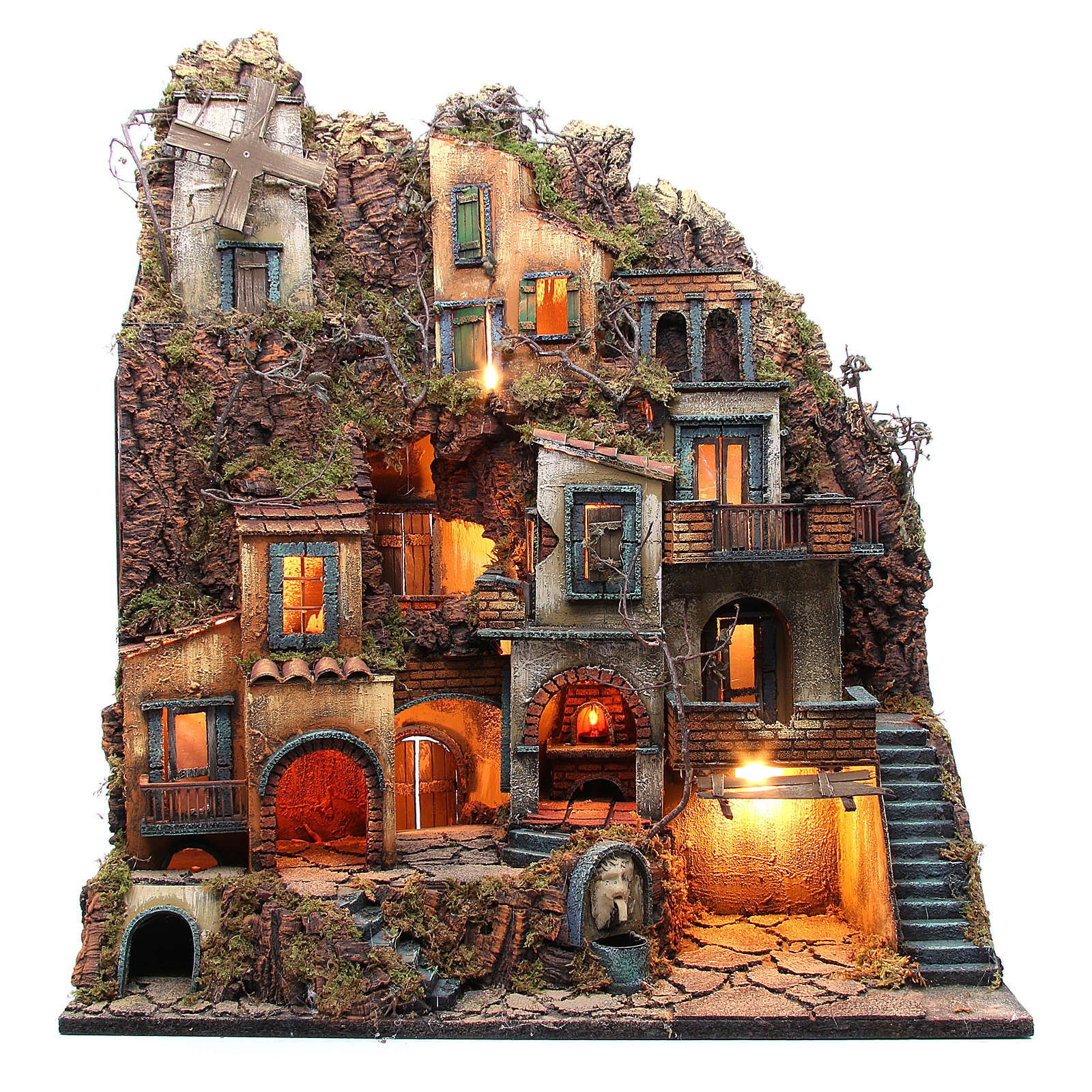 Illuminated village with mill, oven and fountain for Neapolitan Nativity 80x70x40cm 4